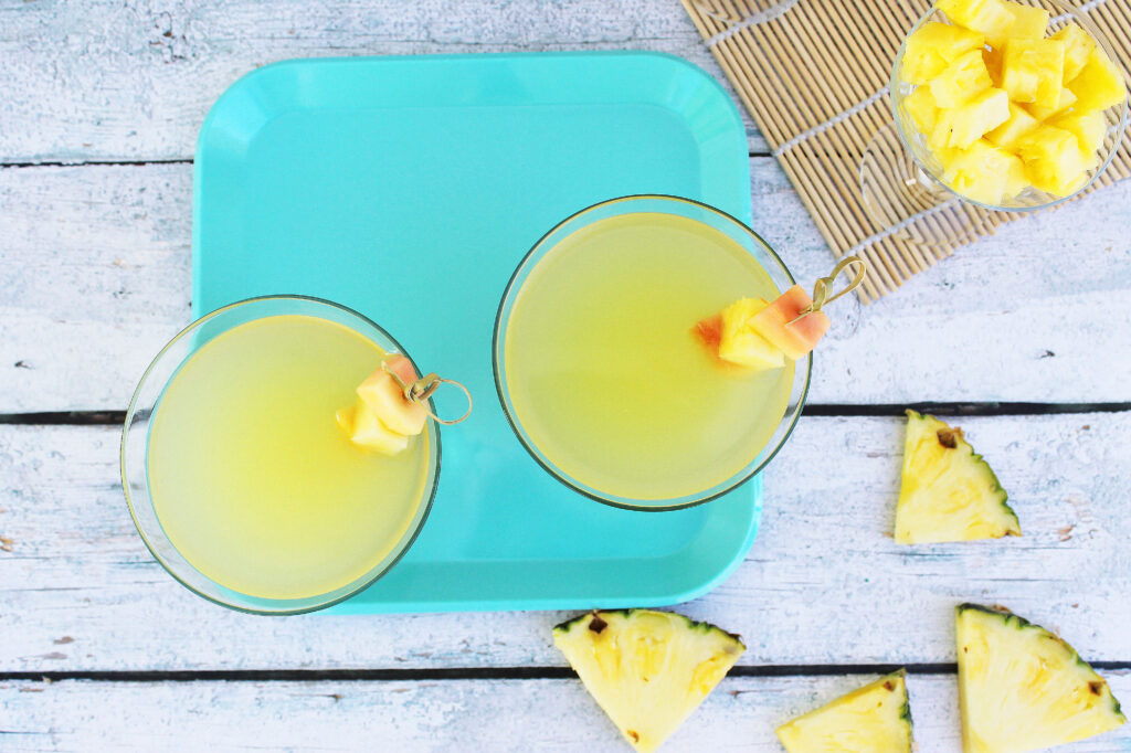 I can't wait to try this pineapple saketini recipe! It's the perfect cocktail recipe for a girls night or a spring cocktail party!
