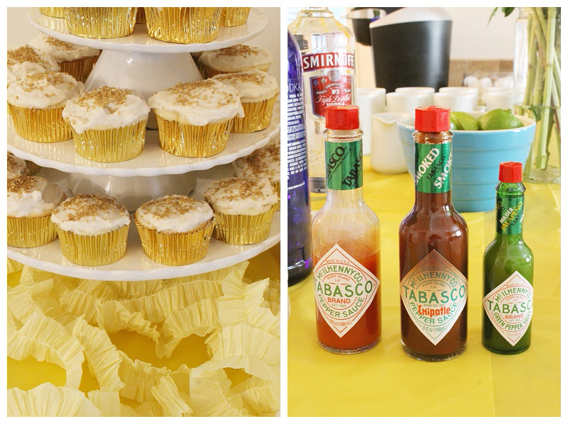 How cute is this rise and shine birthday party theme? I love the gold glittered cupcakes and blood mary bar!