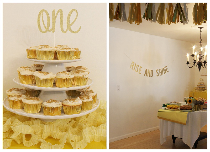 How cute is this rise and shine birthday party theme? I love the gold cupcake tower and tassel garland!