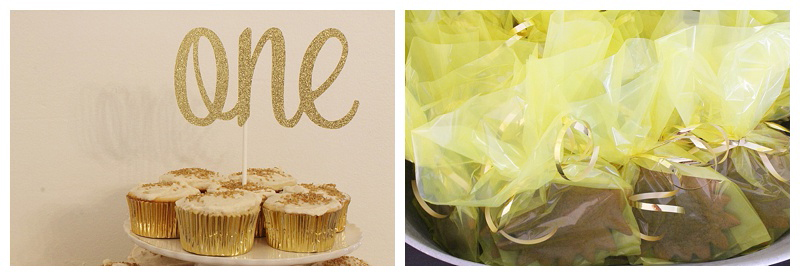 How cute is this rise and shine birthday party theme? I love the gold accents, and gingerbread cookie favors!