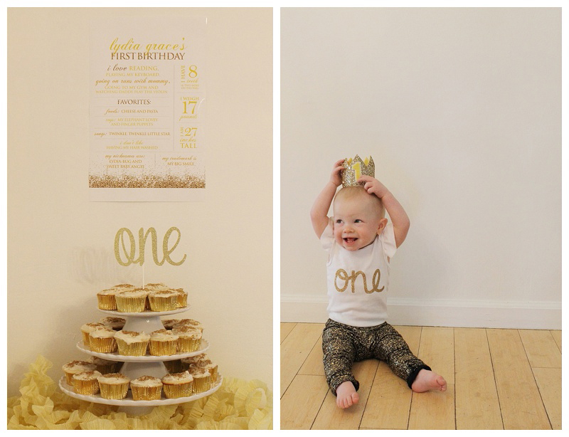 How cute is this rise and shine birthday party theme? I love the gold cupcake tower, and baby birthday crown!