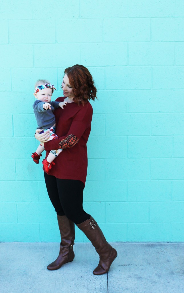 I love these mommy and me leggings! The elbow patches on mommy coordinate with baby's printed leggings and headband.....absolutely adorable! This mommy and me outfit is a great one!