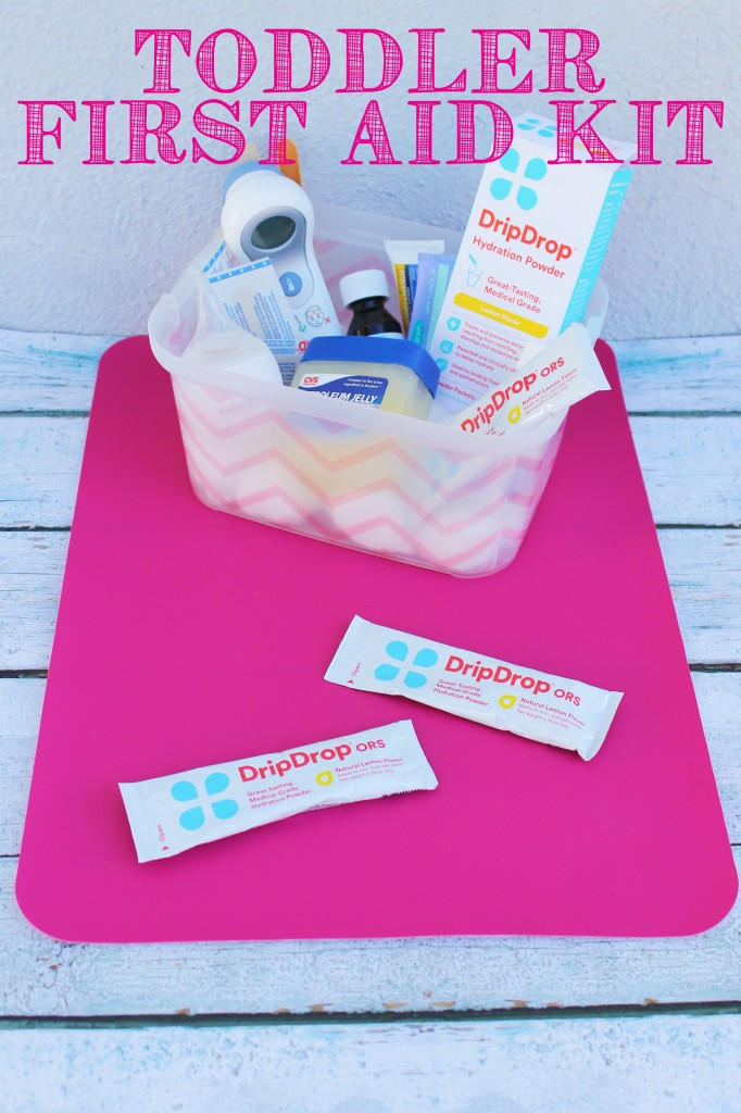 I love this simple toddler first aid kit! Now I'll be prepared in advance for any sickness or toddler ailment! #DrinkDripDrop #DripDropHydrates #Pmedia #ad