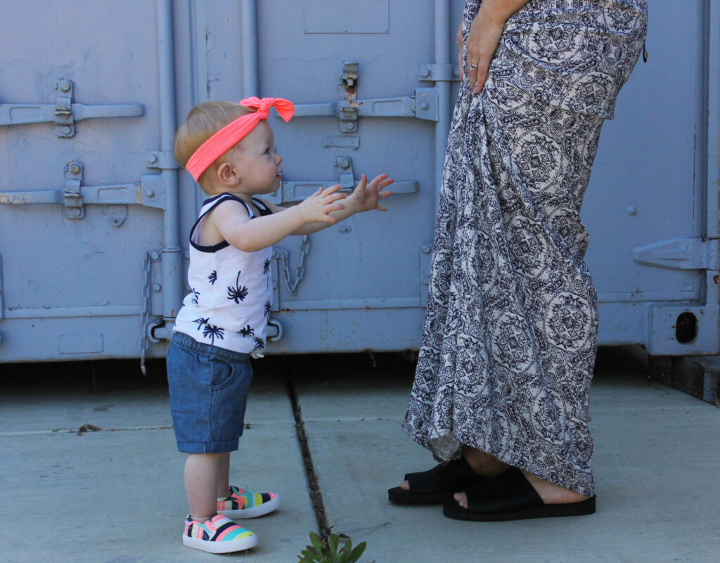 How cute is this mommy and me spring look? I love the chambray toddler shorts and that blue maxi dress is stunning!