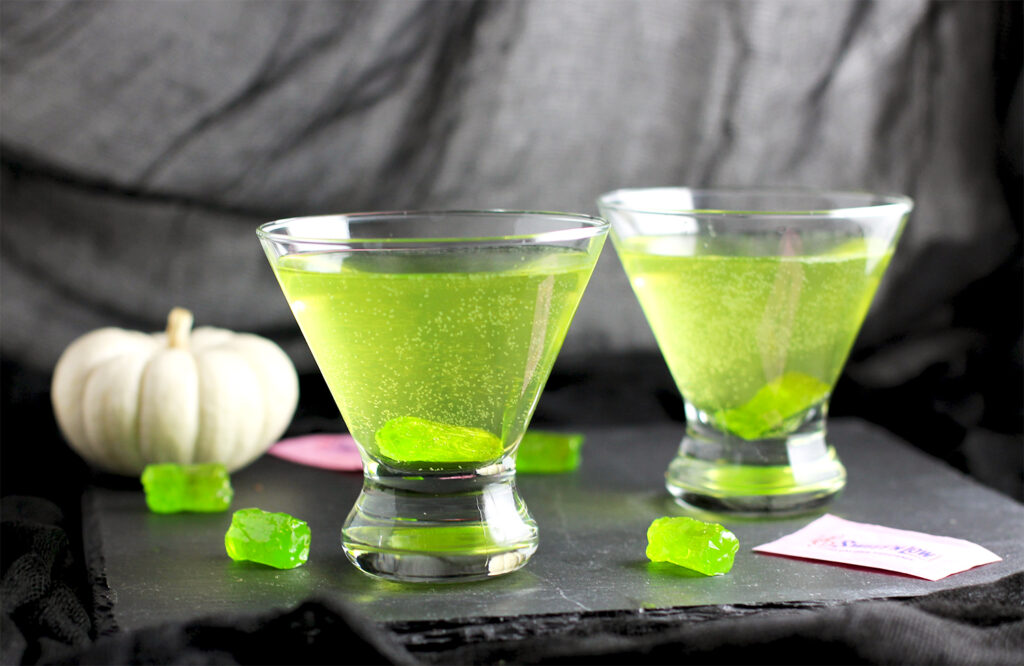 This jolly rancher martini is the perfect Halloween cocktail!