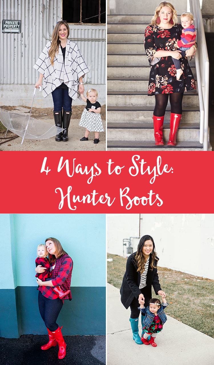 Want to know how to wear Hunter boots? These four different options are perfect for looking stylish on rainy days!