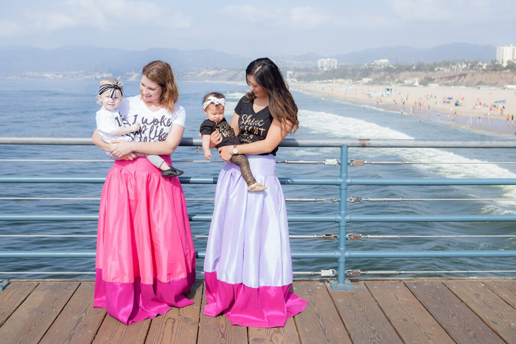 How cute are these mommy and me outfits? The adorable ball skirt? And those graphic tees, love it!