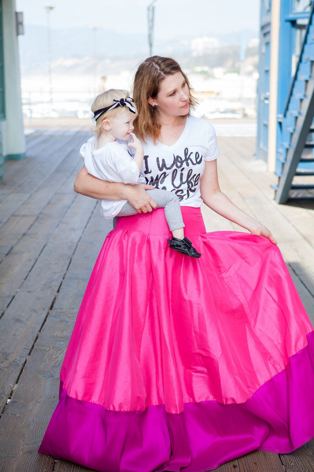 How cute is mommy and me outfit? The adorable ball skirt? And those graphic tees, love it!