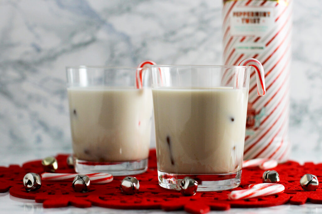 Lifestyle blogger Carly from Lipgloss & Crayons features this Peppermint White Russian Recipe is a great holiday cocktail everyone will love! Mix this up in minutes and share with friends!