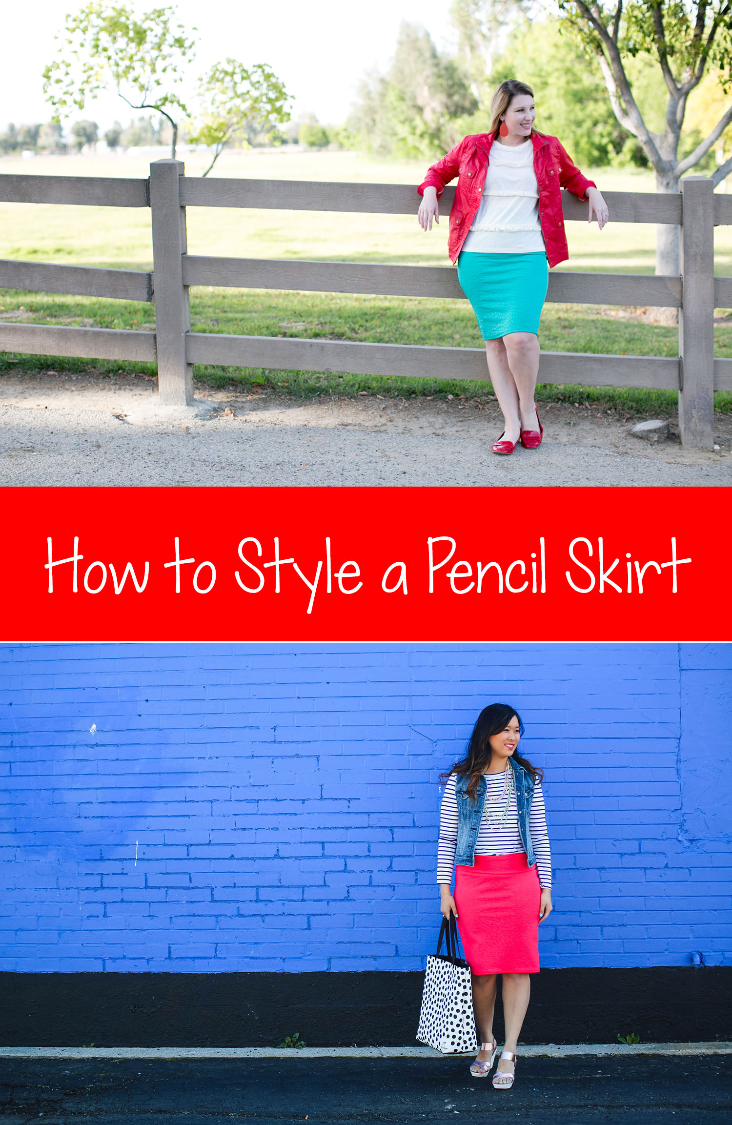 Looking for simple ways to style a pencil skirt? This spring outfit shows how to wear the Lula Roe Cassie Skirt perfectly!