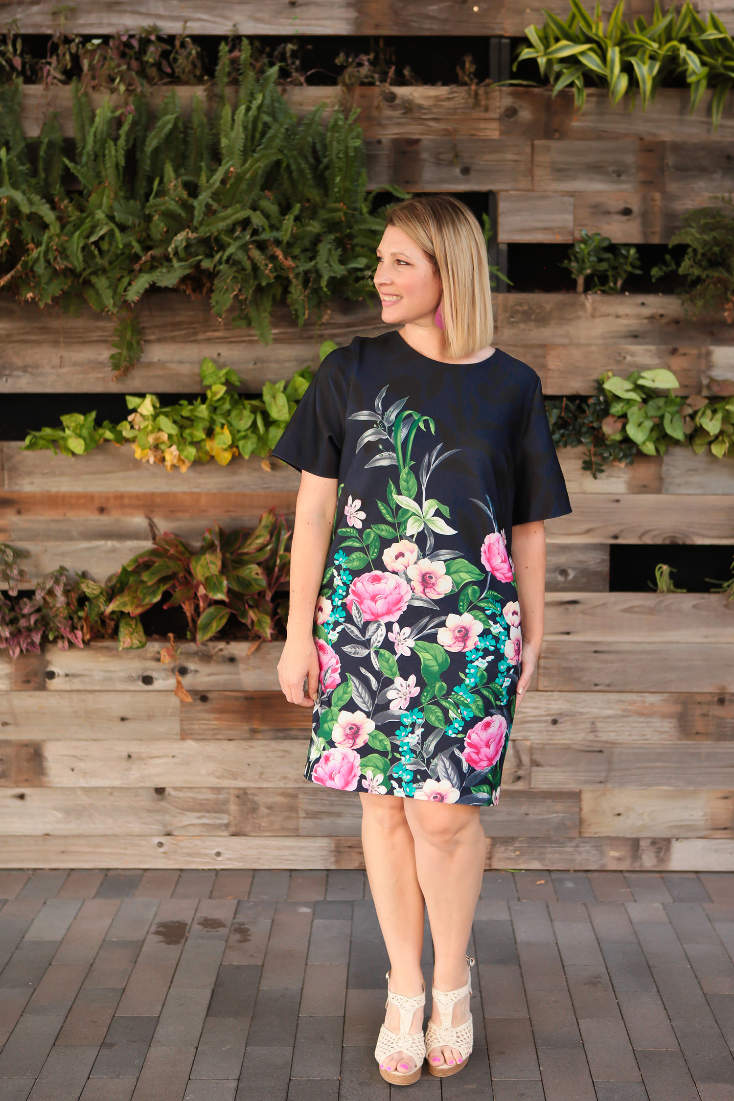Why in the world would anyone RENT clothes? I'm sharing all the reasons I love Le Tote......and how it totally met some of my fashion needs this summer! This eliza j floral print scuba shift dress they sent is warm weather perfection!