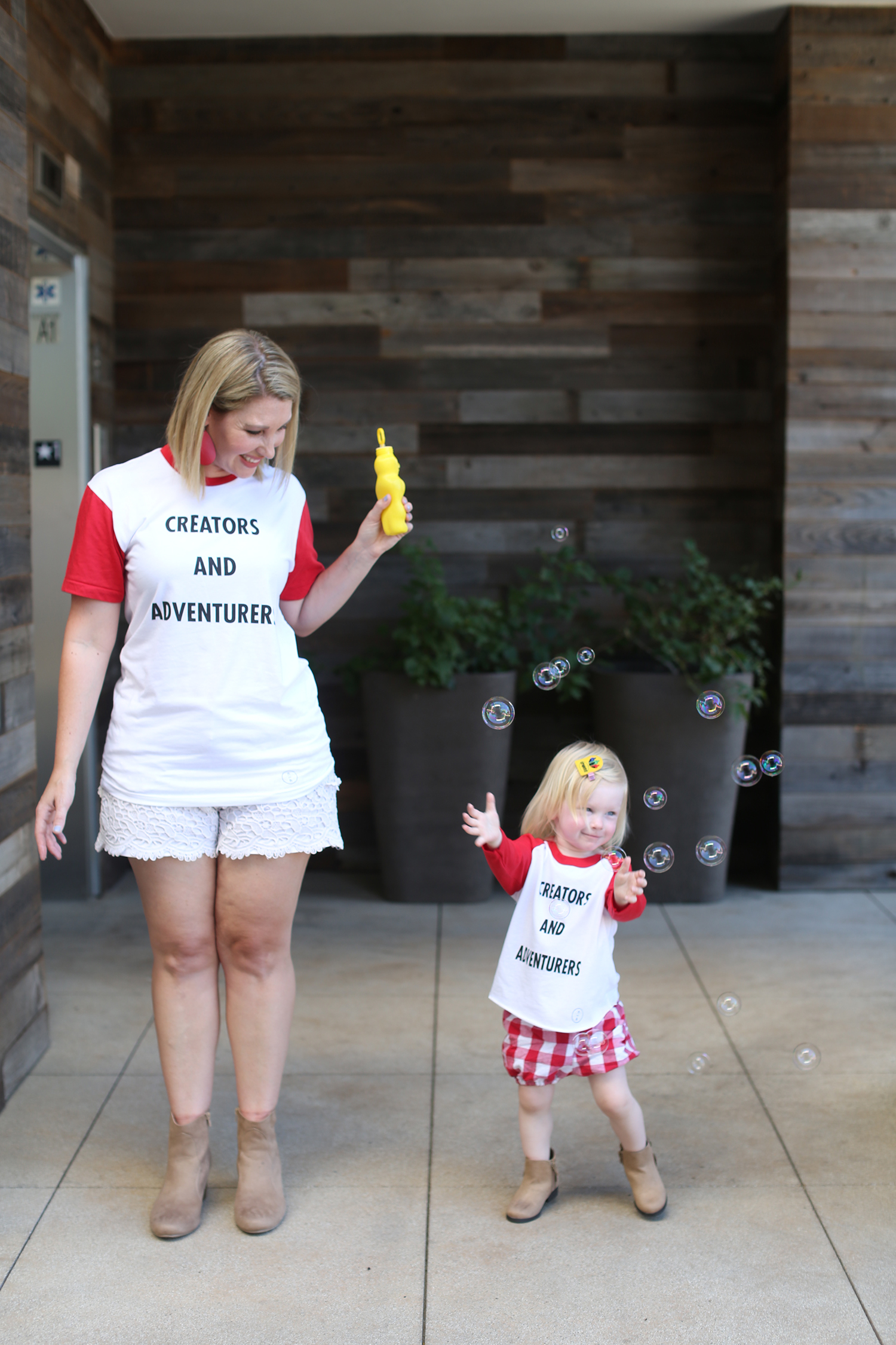 How cute is this mommy and me outfit? I love the creators and adventurers tee and gingham shorts!