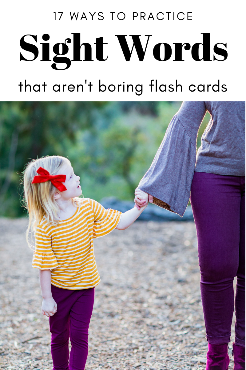 Do you want to know how to help your child practice their sight words without hours of flashcards? Here are 17 FUN ways to practice sight words (that will leave you with time to play)!
