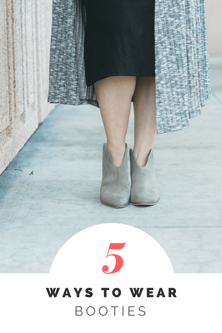 It's fall, and that means.....it's bootie season! These shoes are EVERYWHERE and lifestyle blogger Carly of Lipgloss & Crayons is sharing how to wear booties five different ways!