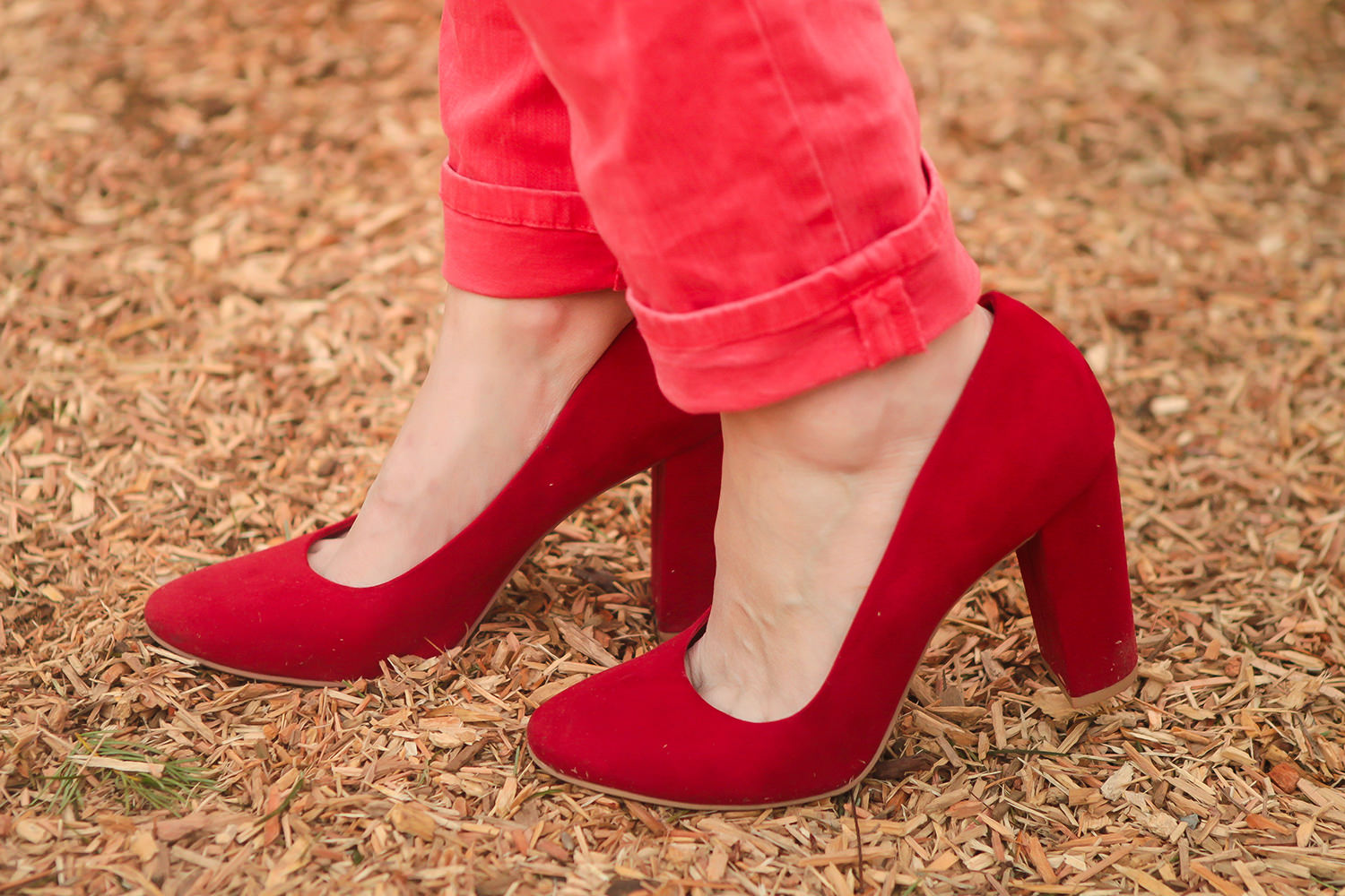 red stacked heel