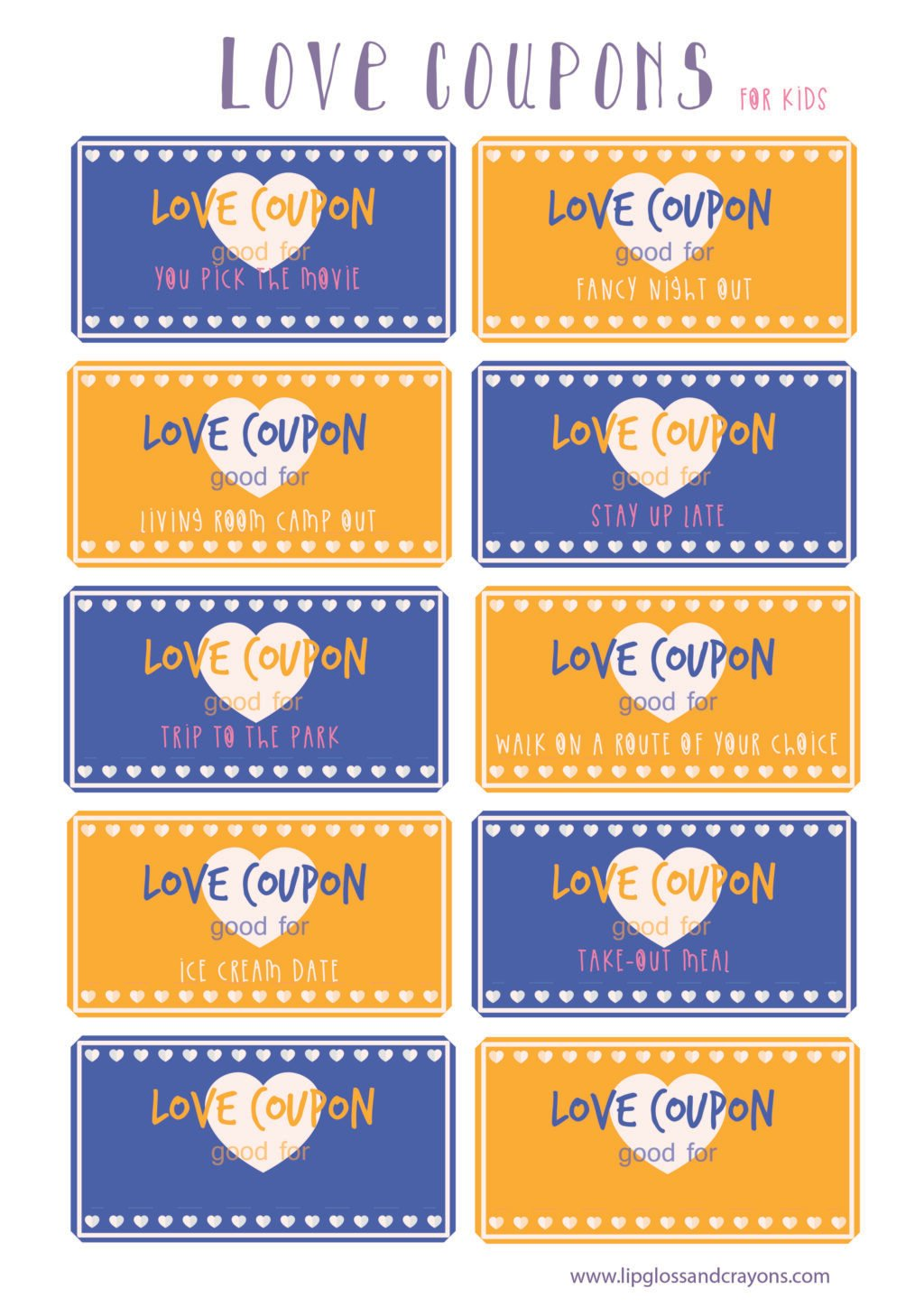 These love coupons for kids are the perfect valentine's day printable!