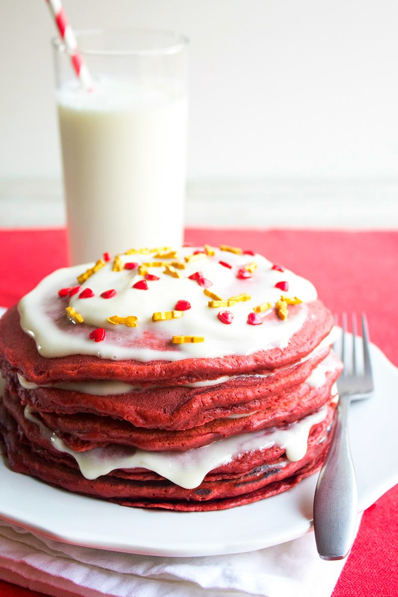Red Velvet Pancakes are a rich and decadent bite perfect for surprising your loved one. Slather them in cream cheese spread for an over the top breakfast!