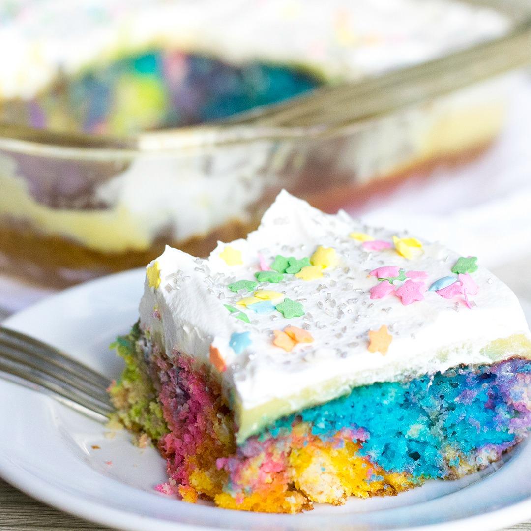 Unicorn Poke Cake Easy Dessert Recipe Lipgloss Amp Crayons