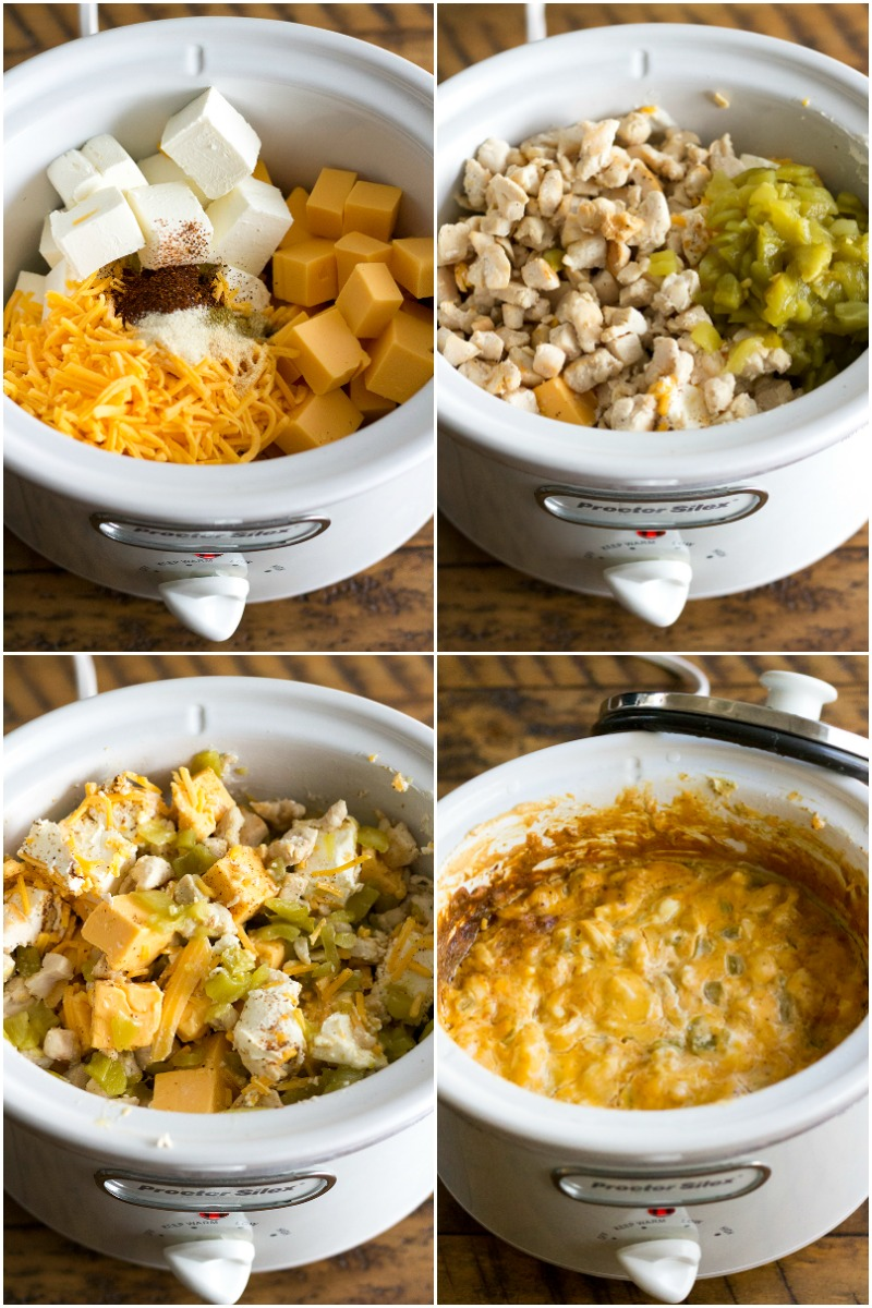 Crock Pot Green Chili Chicken Queso is super easy to make and tastes like the best enchilada you've ever had!