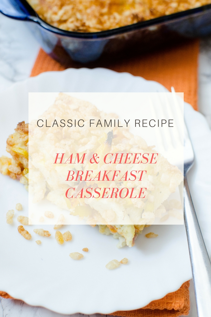Delicious Ham & Cheese Breakfast Casserole Recipe by LA lifestyle blogger Carly from lipgloss and Crayons