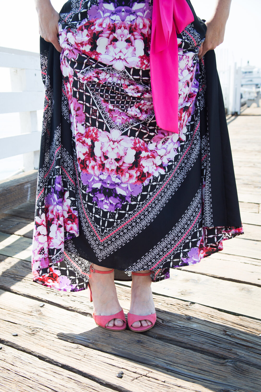 Trunk Club Review July 2017: this eliza j maxi dress is the perfect summer casual outfit base and those pink heels? STUNNING!