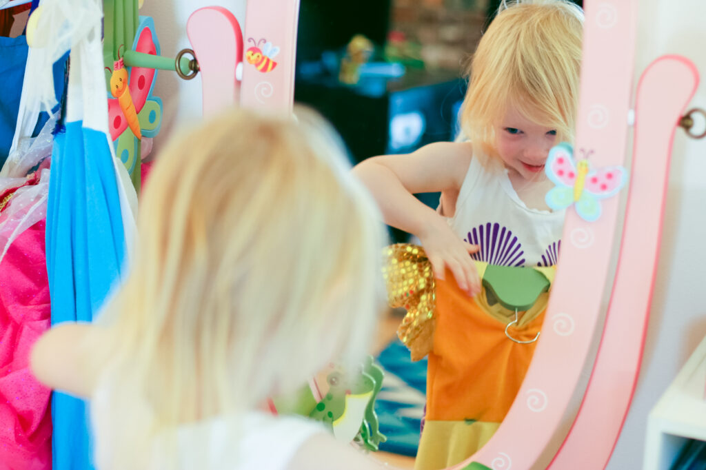 This simple toddler dress up area is perfect for imaginative play inspiration!