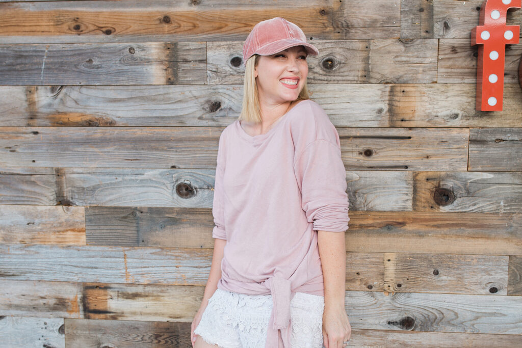 Looking for cute loungewear? This blush tie front sweatshirt is the PERFECT casual outfit for school or everyday wear!