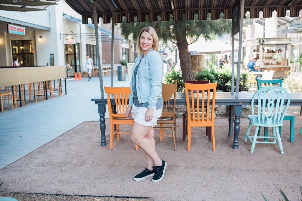 fall shorts: looking for fall outfit inspiration?  This will show you how to style lace shorts for fall in a way that flatters a pear shape body!