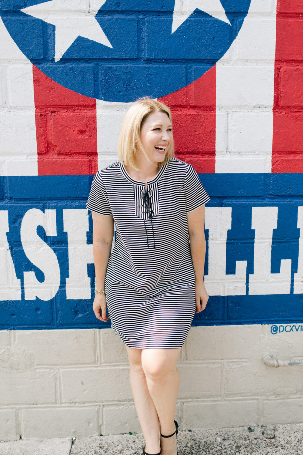 Love your striped tee shirt dress? These are two easy ways to style it for fall!