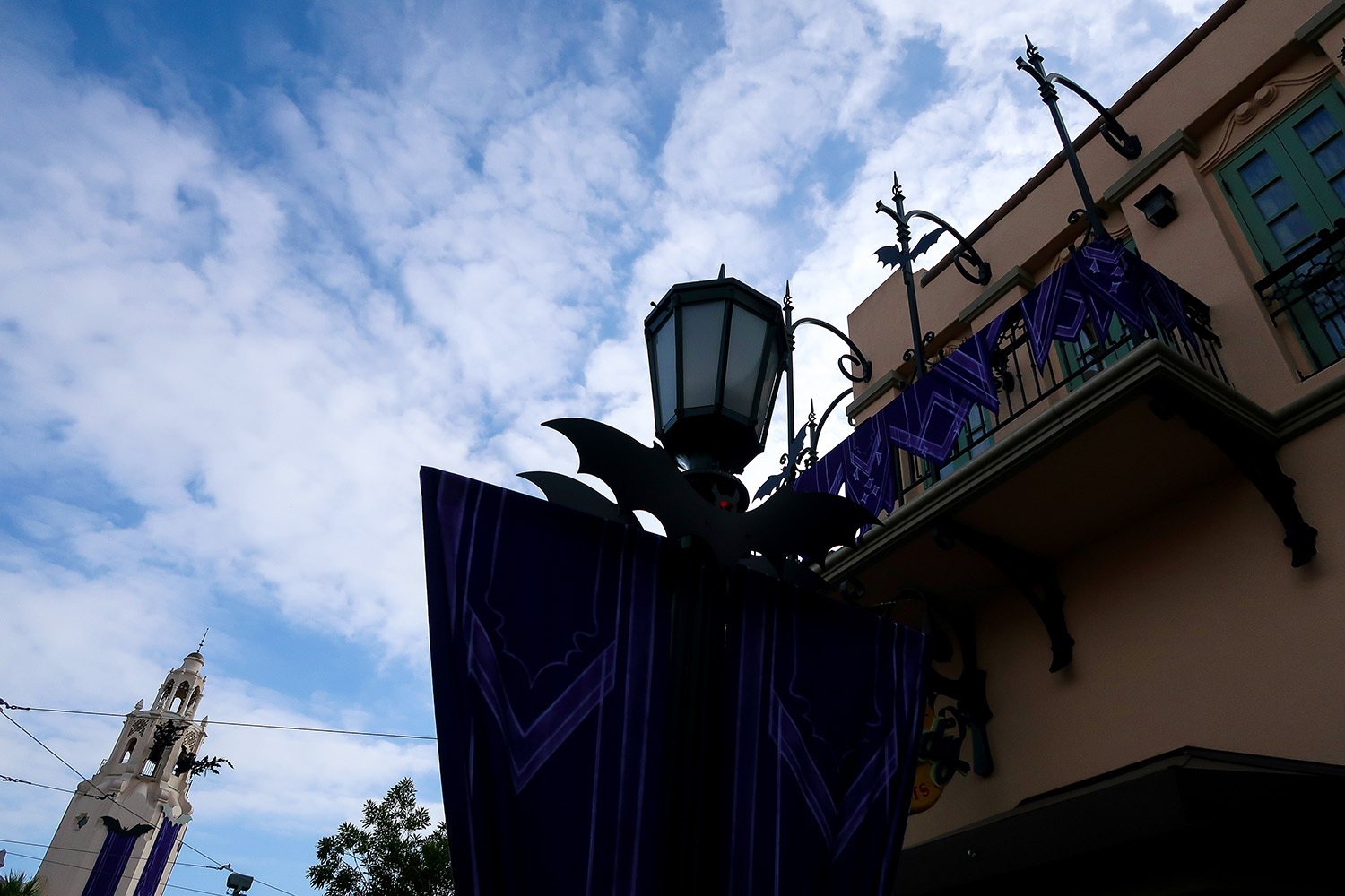 The Bat Decor for Halloween in California Adventure is amazing!
