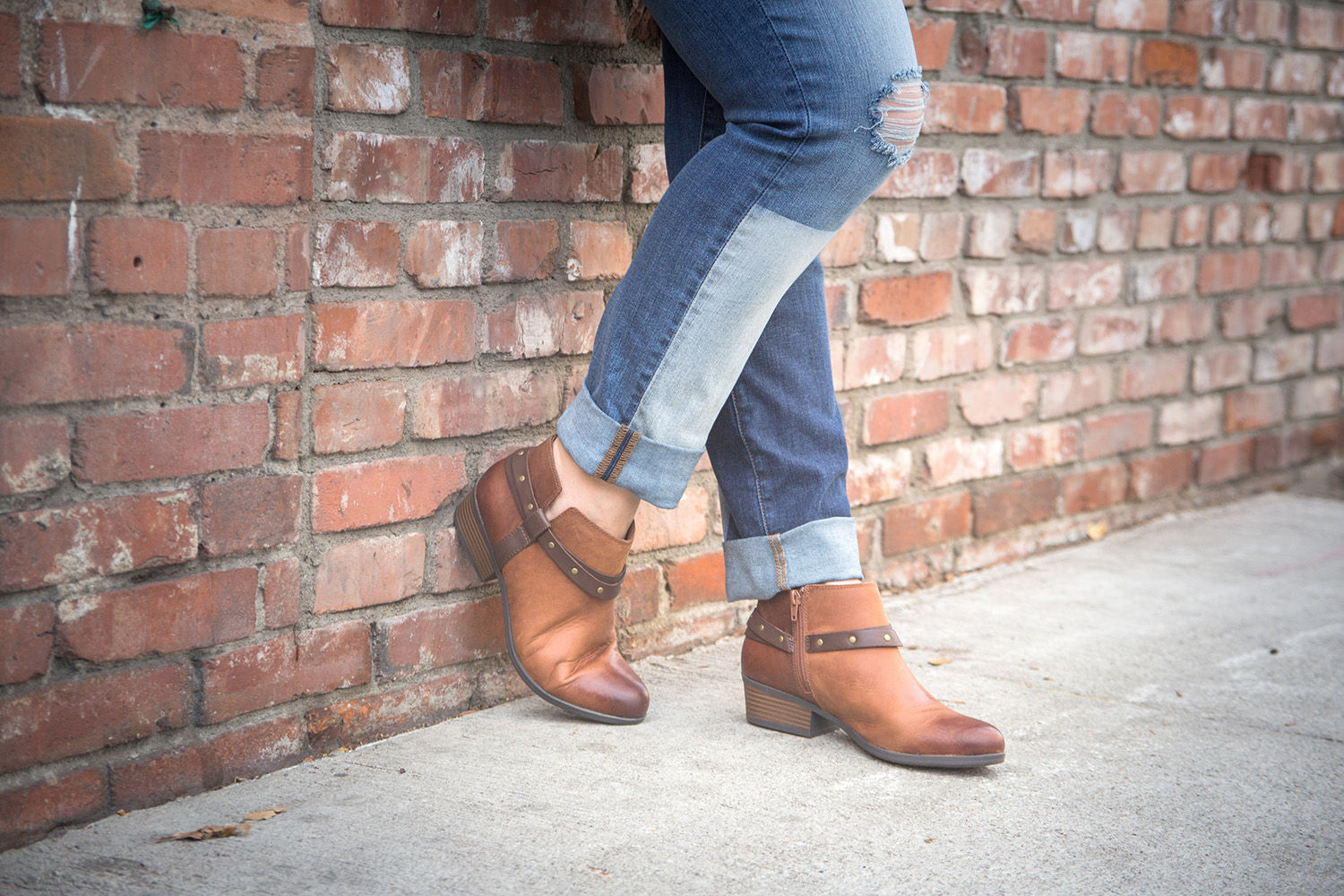 Looking for casual fall outfit inspiration? Patched Denim and Comfortable Booties are perfect for everyday fall wear!