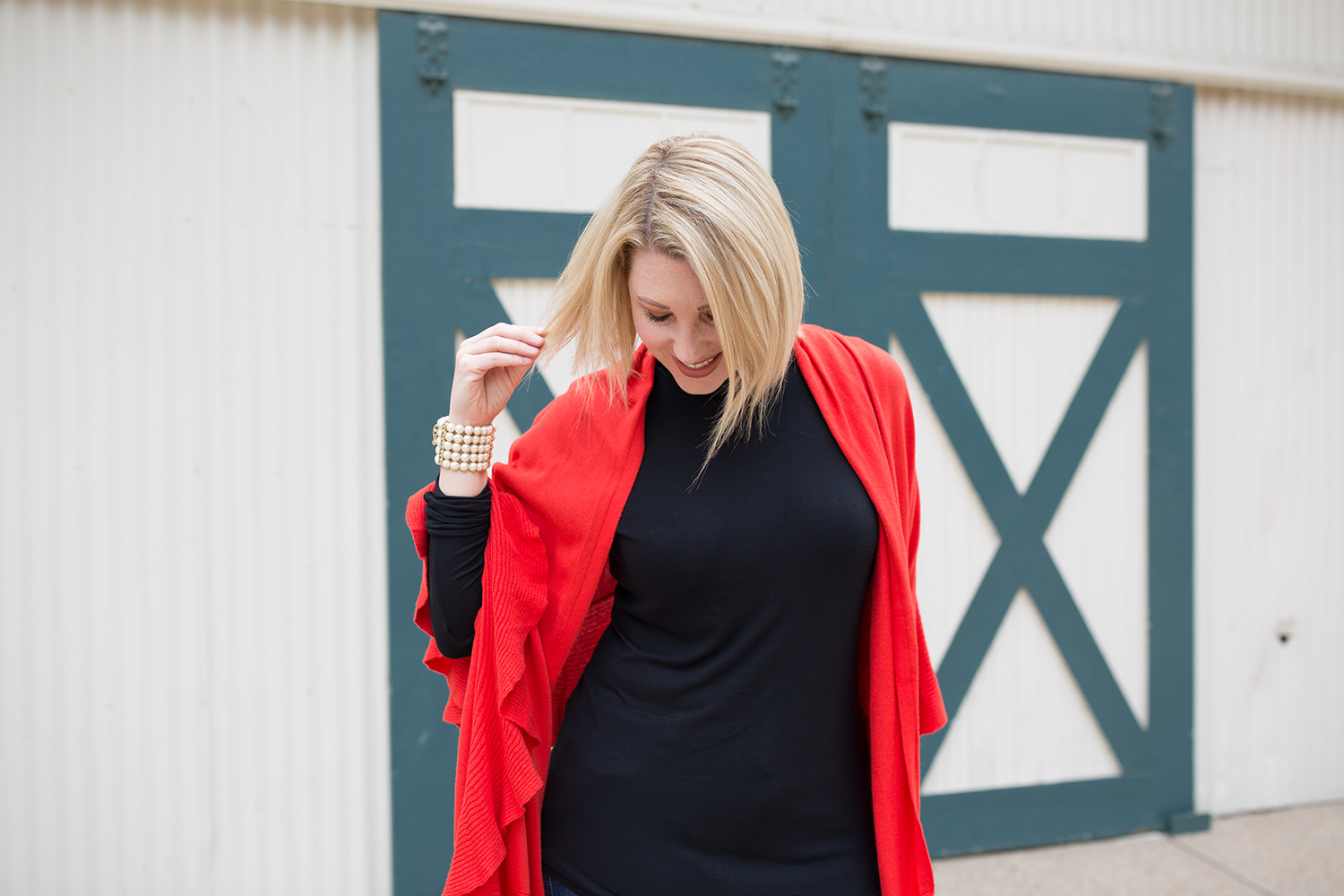 f08966cb69b0a8 This red wrap sweater is perfect for cooler weather!