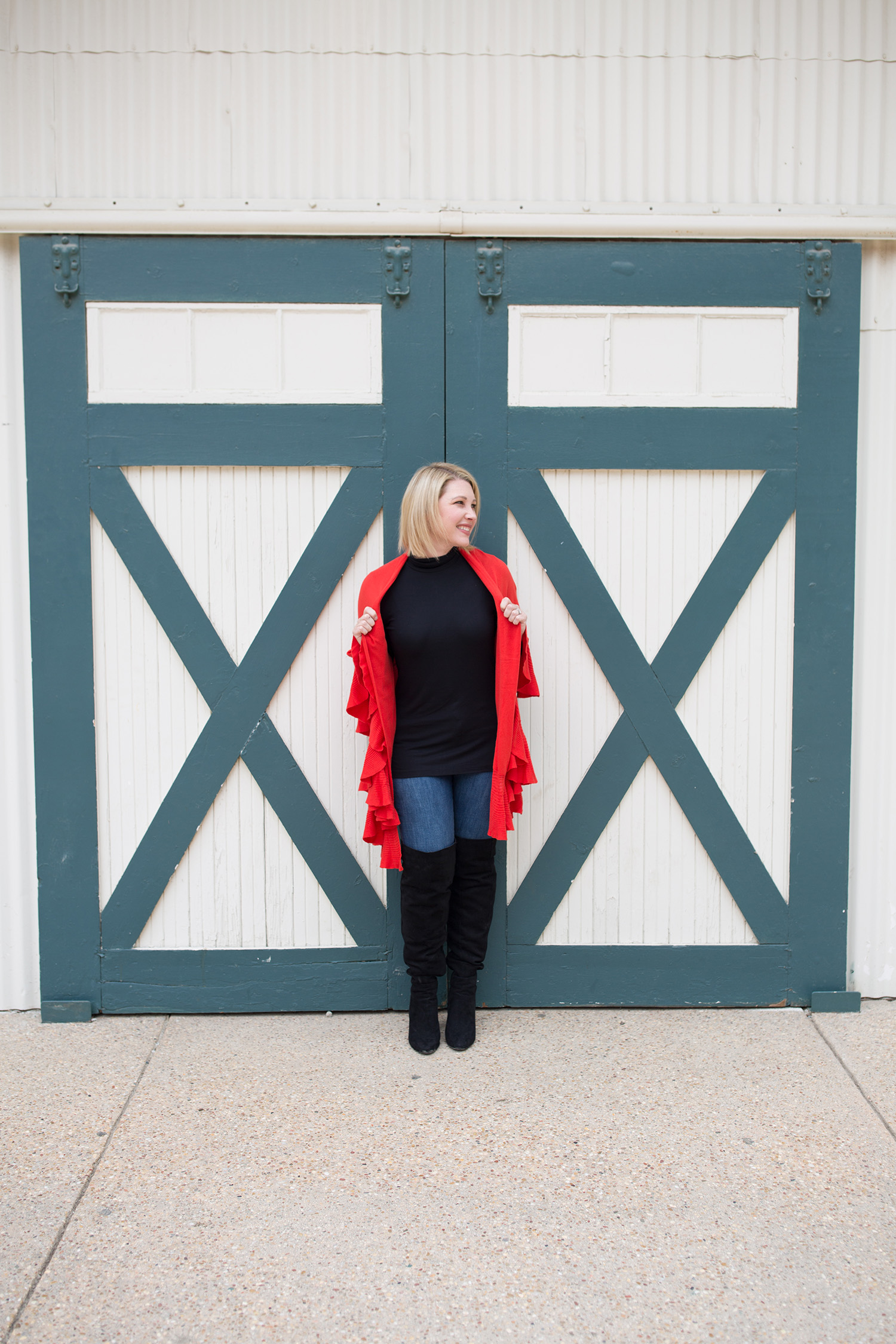 Looking for fall outfit staples? This red wrap sweater is perfect for cooler weather!