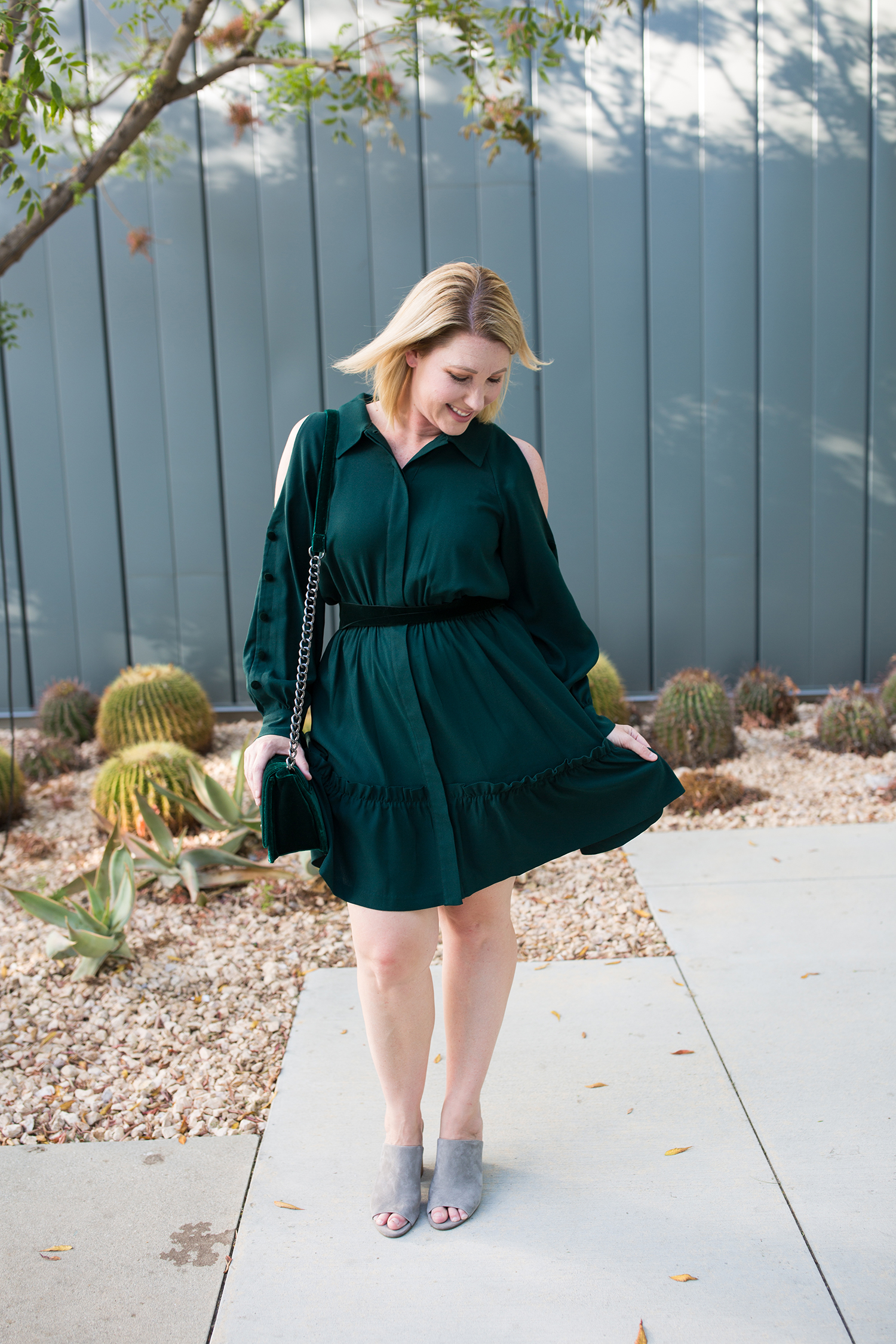 Love cold shoulder dresses? This one is great for holiday parties!