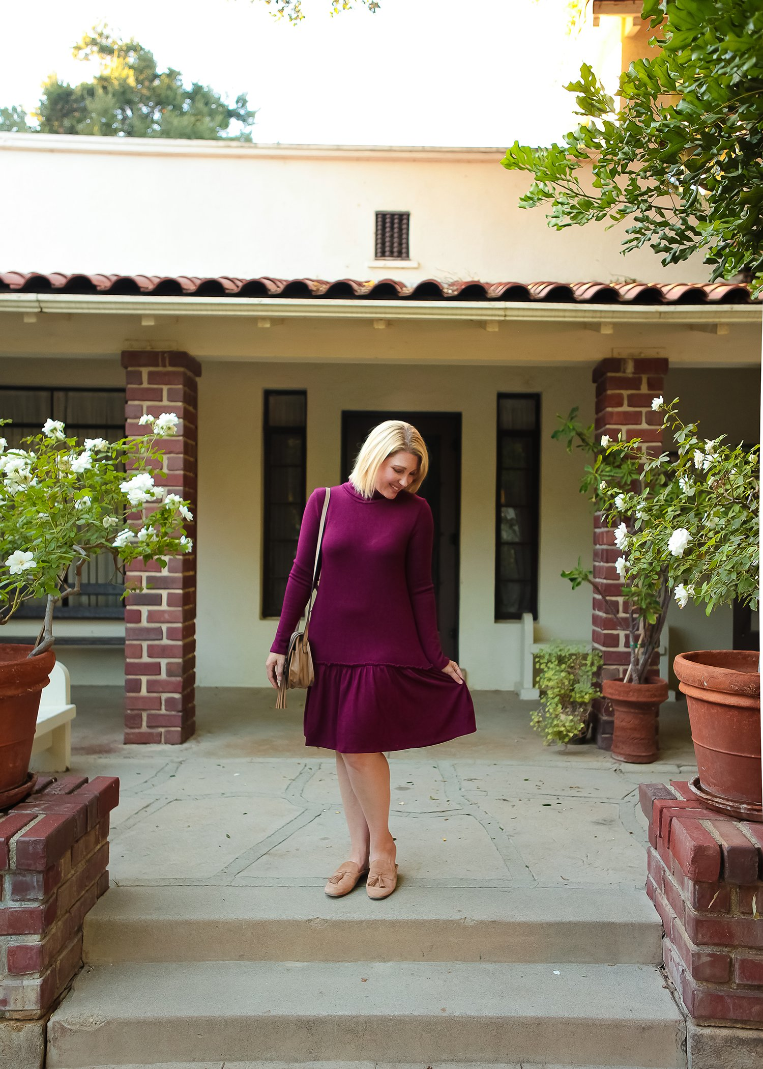 Looking for holiday dresses? I love this simple, flattering red sweater dress (and it's under $100)!