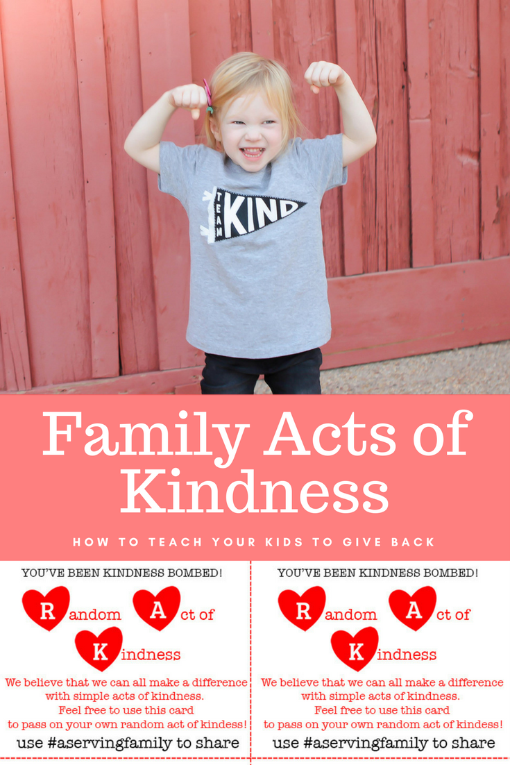 Want to teach your family to give back? This plan for an act of kindness each day for a week is awesome, and they have a free printable to give out!