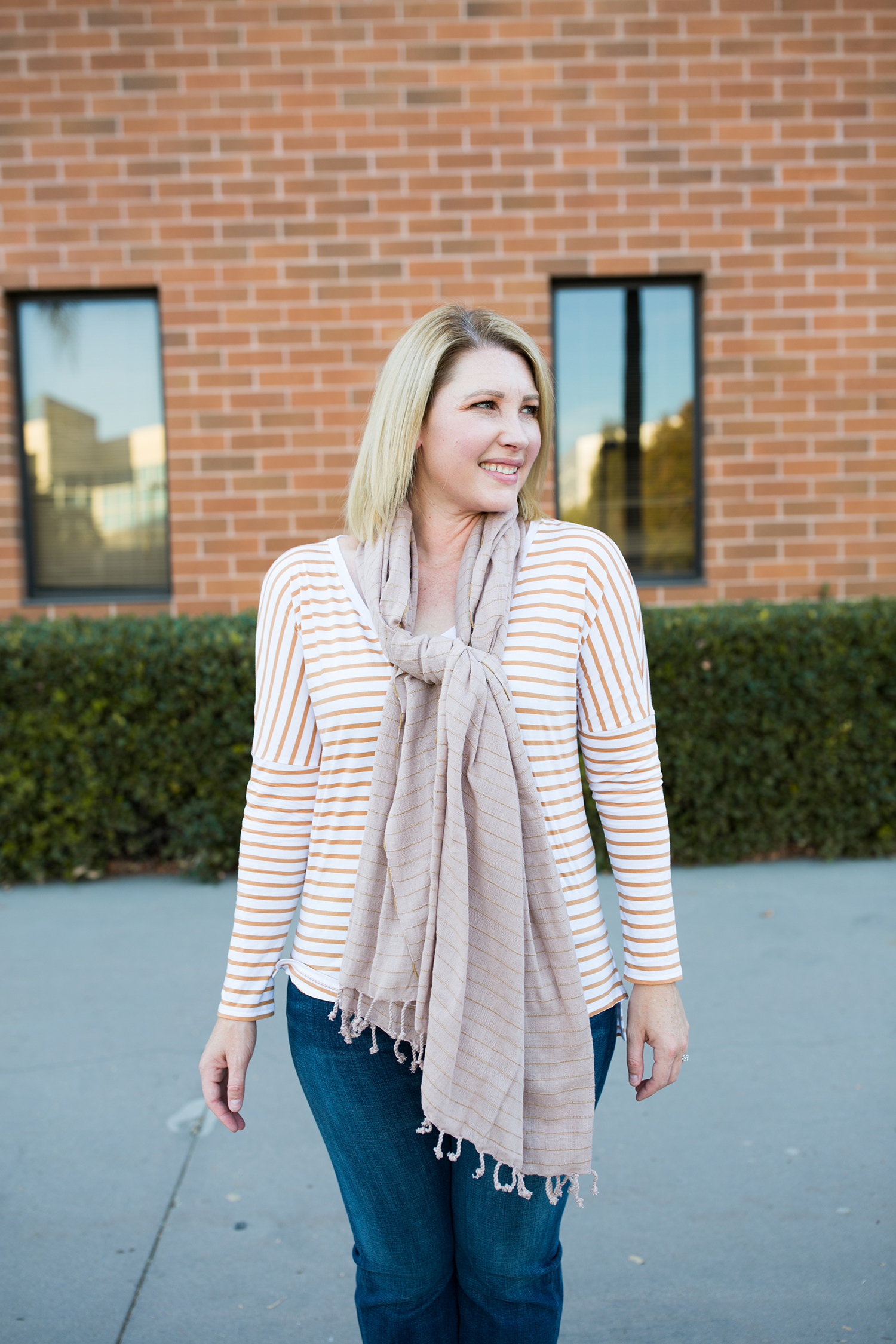 Fall Outfit: I love a great stripe tee for fall!