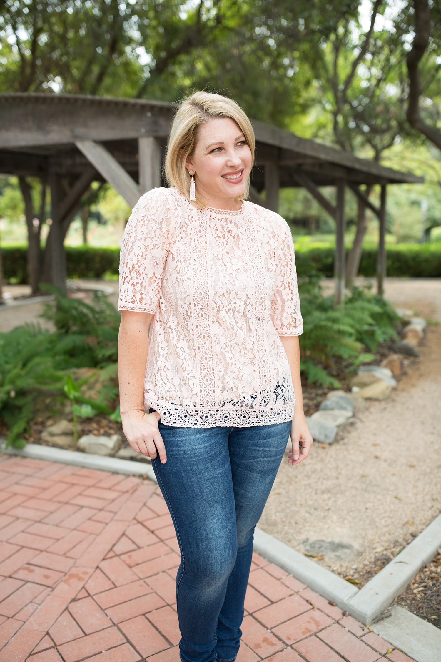 Date Night Outfit: This pink lace top is perfect for year round wear......and will add a little touch of romance to your favorite jeans!