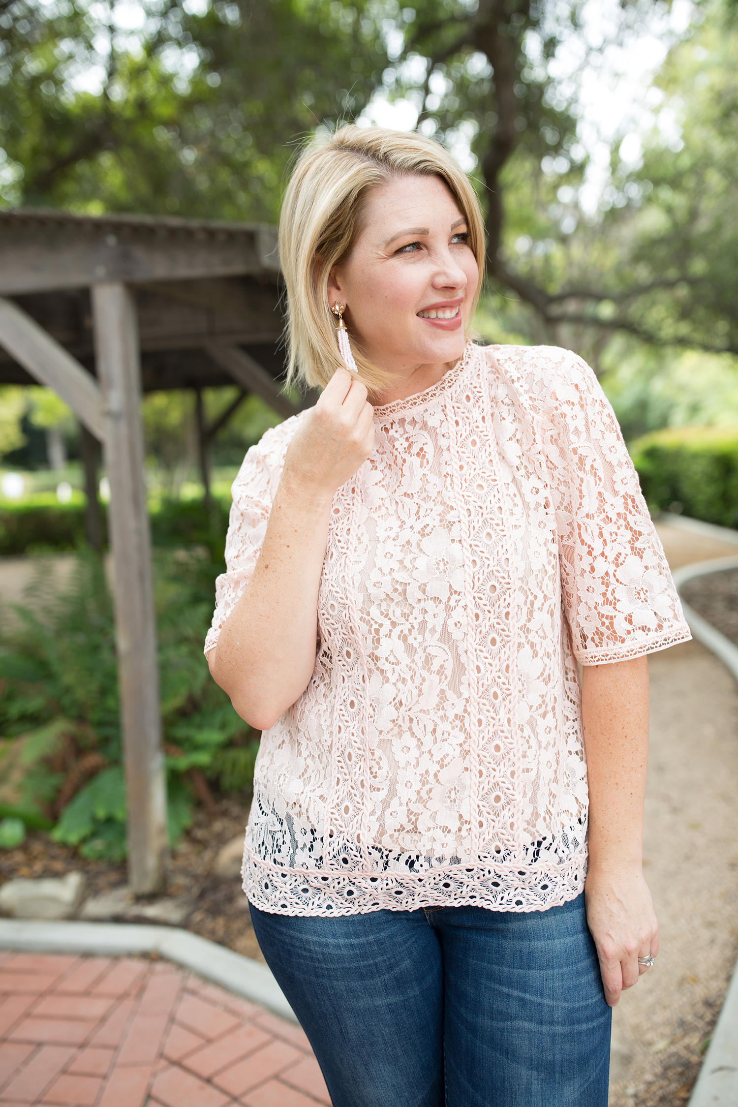 I love this pink lace top....it's perfect for fall outfit options!