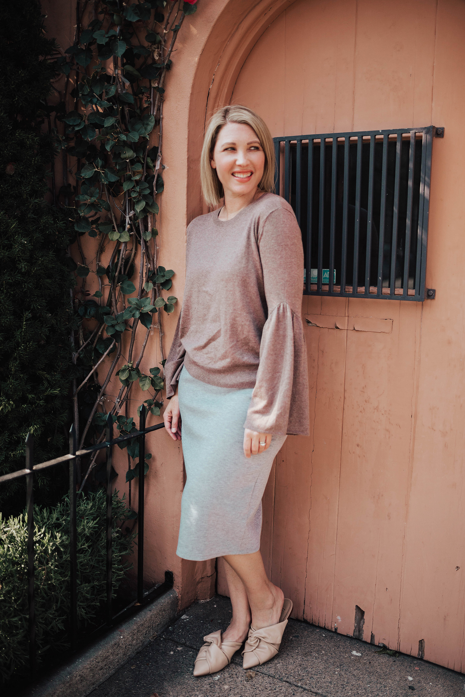 Business Casual Outfit: This grey pencil skirt is a GREAT work staple and fits like a dream!
