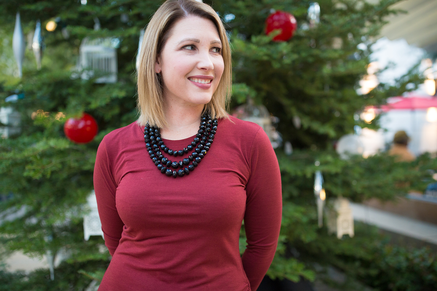 Holiday Dress Ideas? I love adding this necklace to a simple sheath dress!