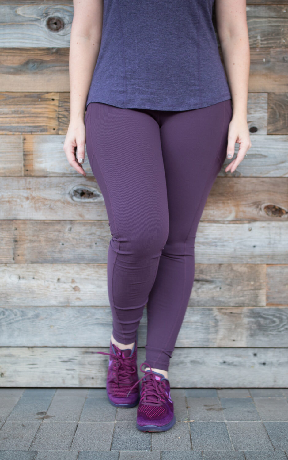 These purple Zella leggings are perfect for a pear-shaped body.