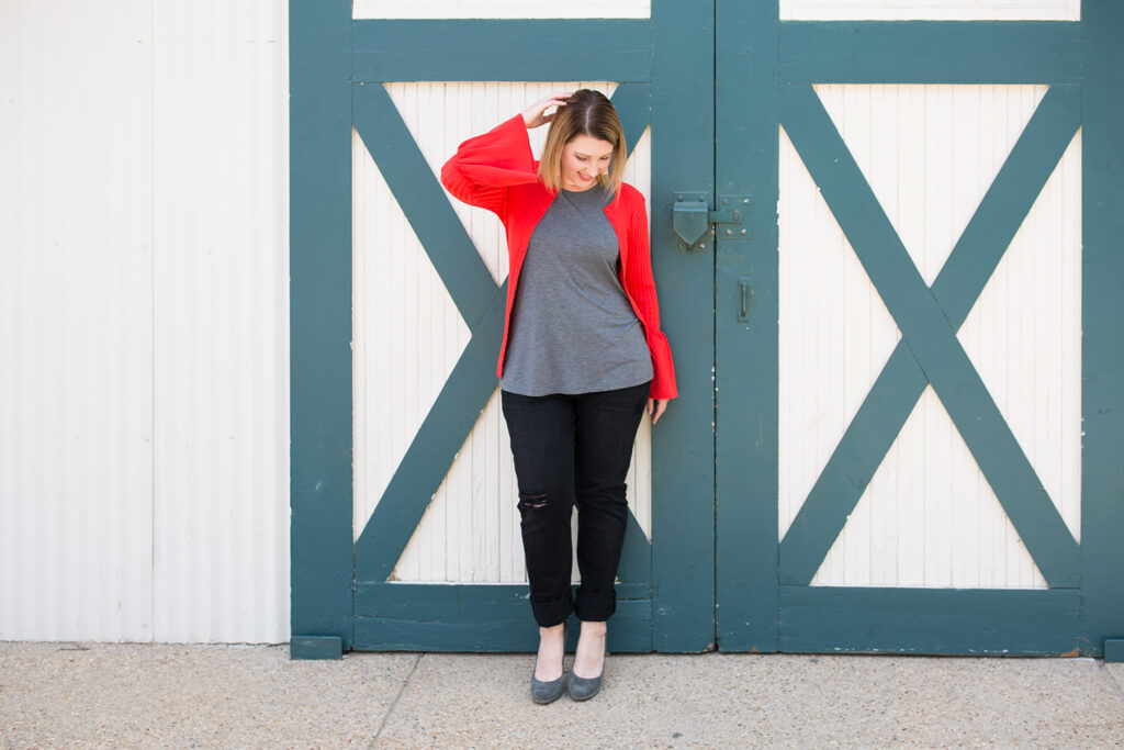 I love this red cardigan, perfect for date night!
