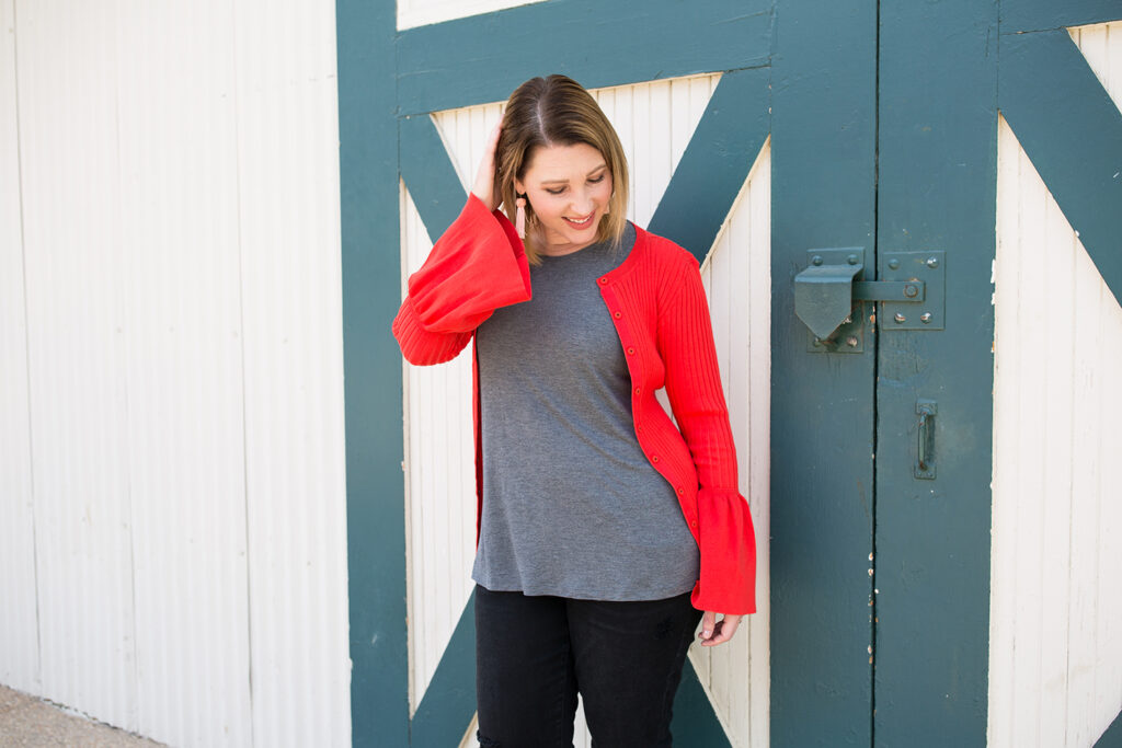 I love this bell sleeve red cardigan, perfect for a date night outfit!