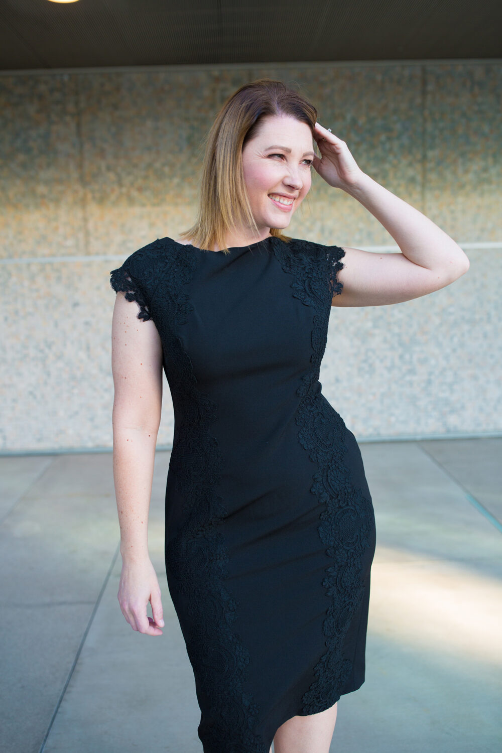 I love this black lace dress, it's perfect for date nights!
