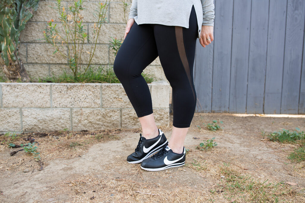 I love these black workout pants! Black capri leggings are a total staple for any athleisure wardrobe!