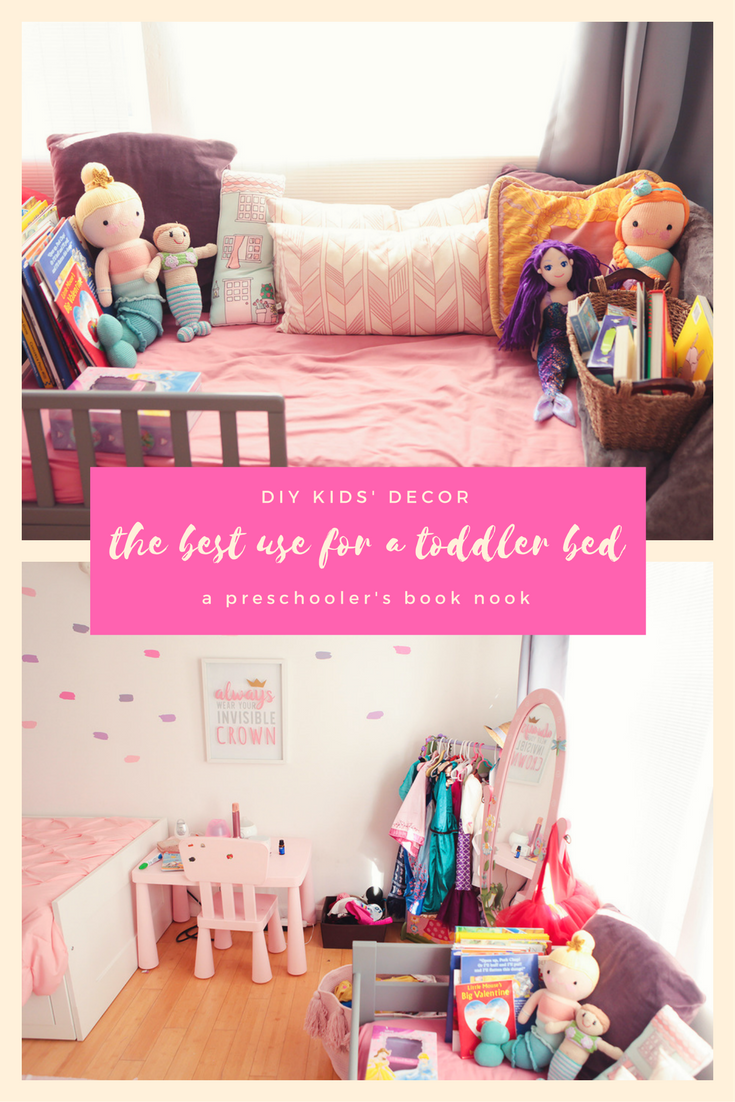 Life Hack: use that old toddler bed as a book nook for your preschooler, it's the perfect way to encourage independent reading and reuse old furniture!