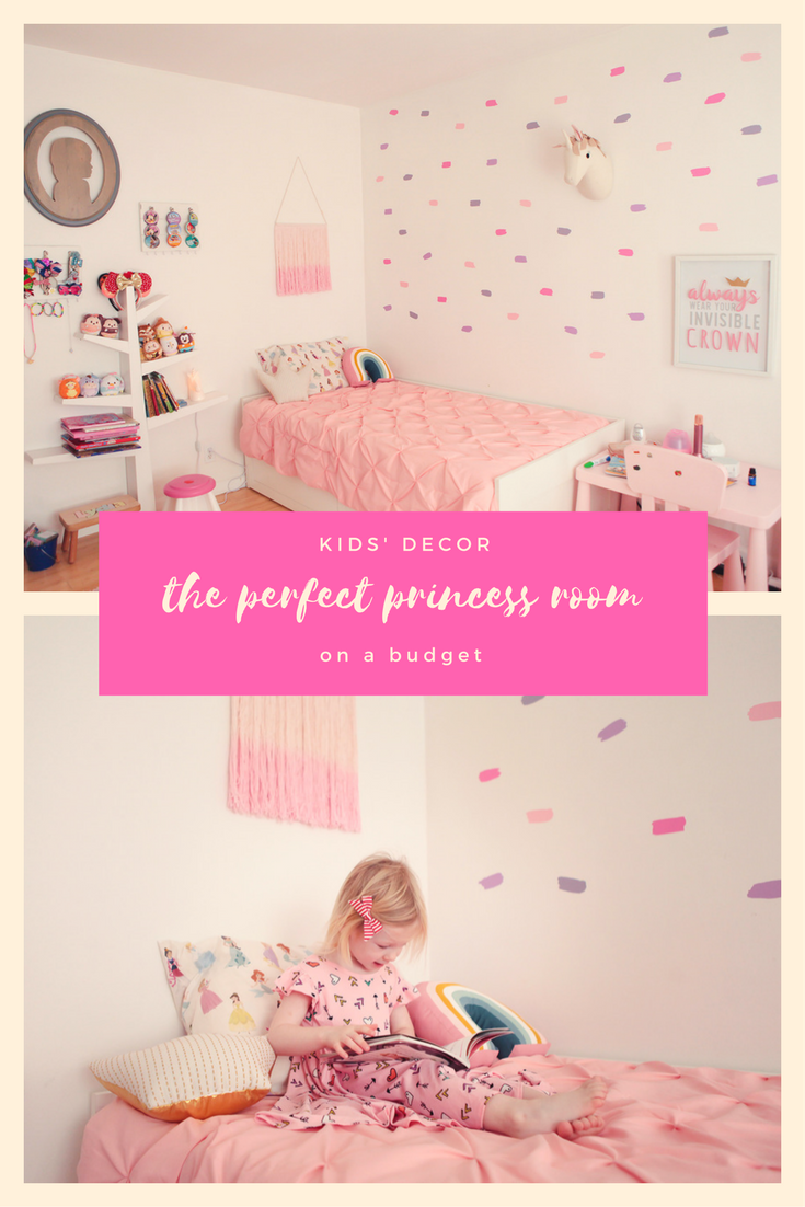 Princess Room Makeover: This princess themed bedroom is ABSOLUTELY adorable and done on a totally reasonable budget!