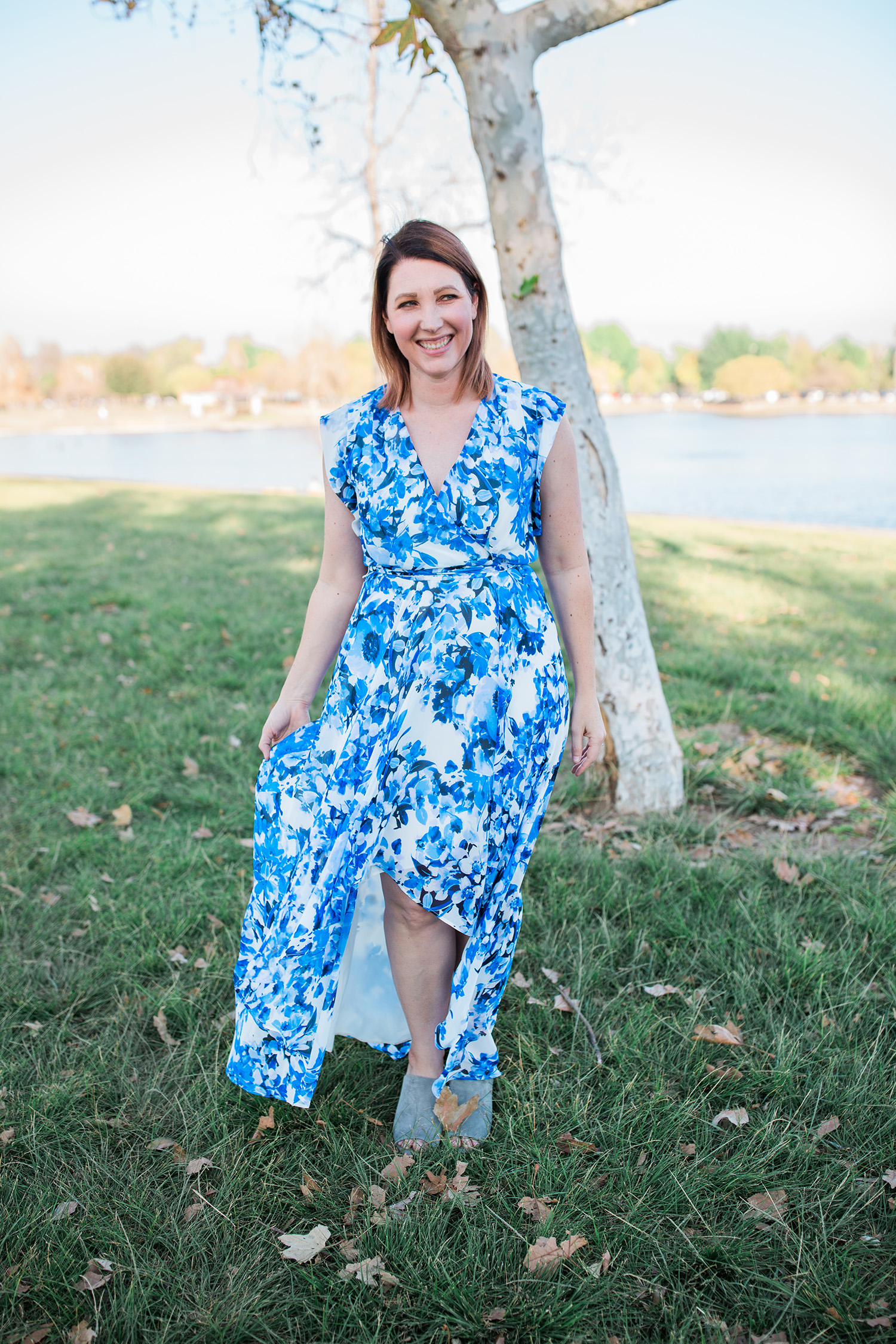 This blue floral dress is perfect for spring!