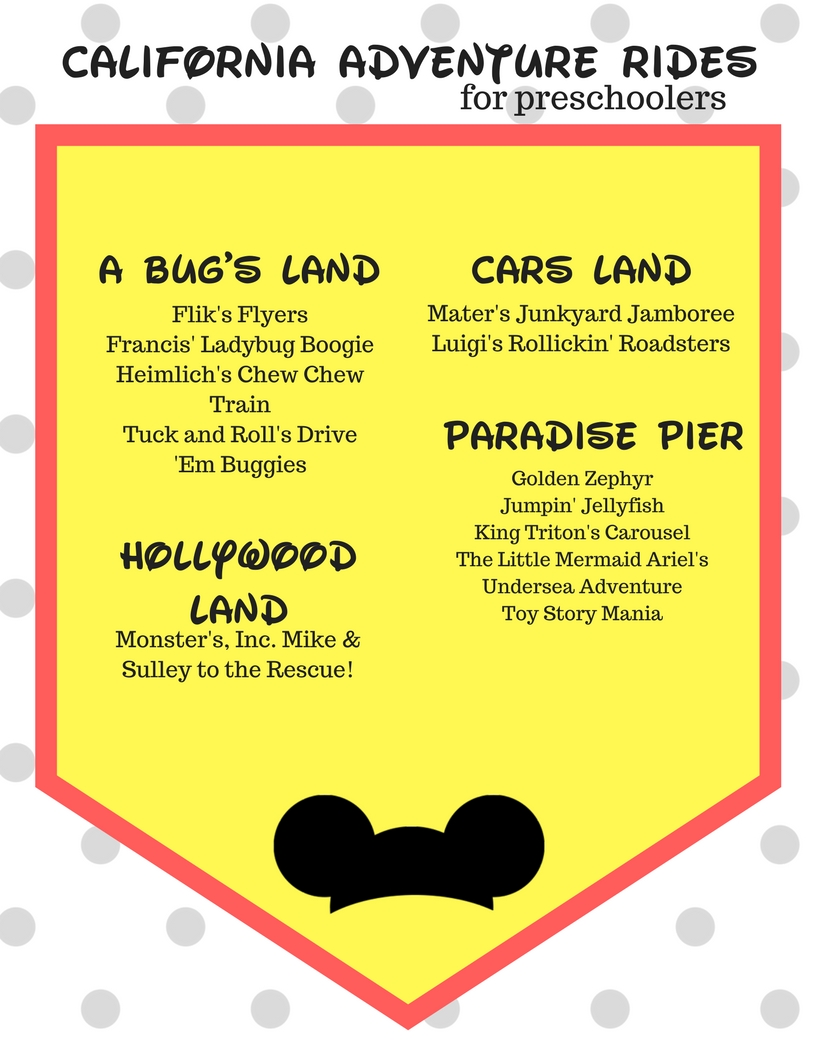 Want to know which Disneyland rides are best for toddlers and preschoolers? This printable is the ultimate guide to Disney California rides (and there's even a cell phone version for easy reference)!